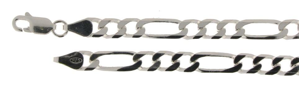 Armband Figaro diamantiert Kettenbreite 4.8mm