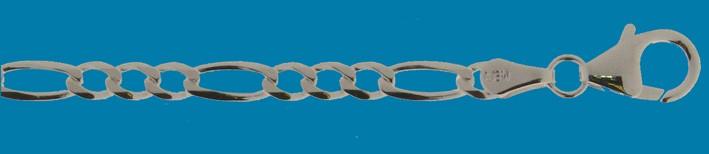 Bracelet Figaro diamond cut chain width 3.3mm