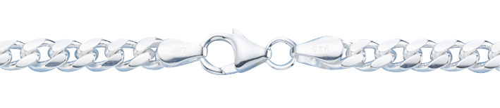 Bracelet Curb chain oval diamond cut chain width 4.6mm