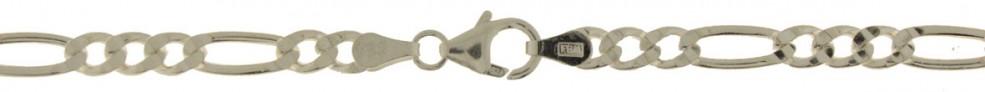 Bracelet Figaro diamond cut chain width 4.5mm