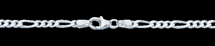 Bracelet Figaro diamond cut chain width 2.8mm