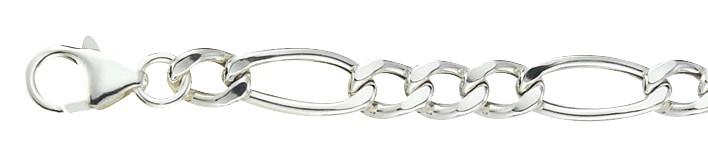 Bracelet Figaro hollow chain width 6.3mm